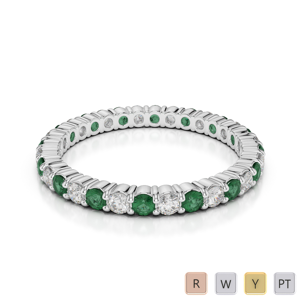 2 MM Gold / Platinum Round Cut Emerald and Diamond Full Eternity Ring AGDR-1110