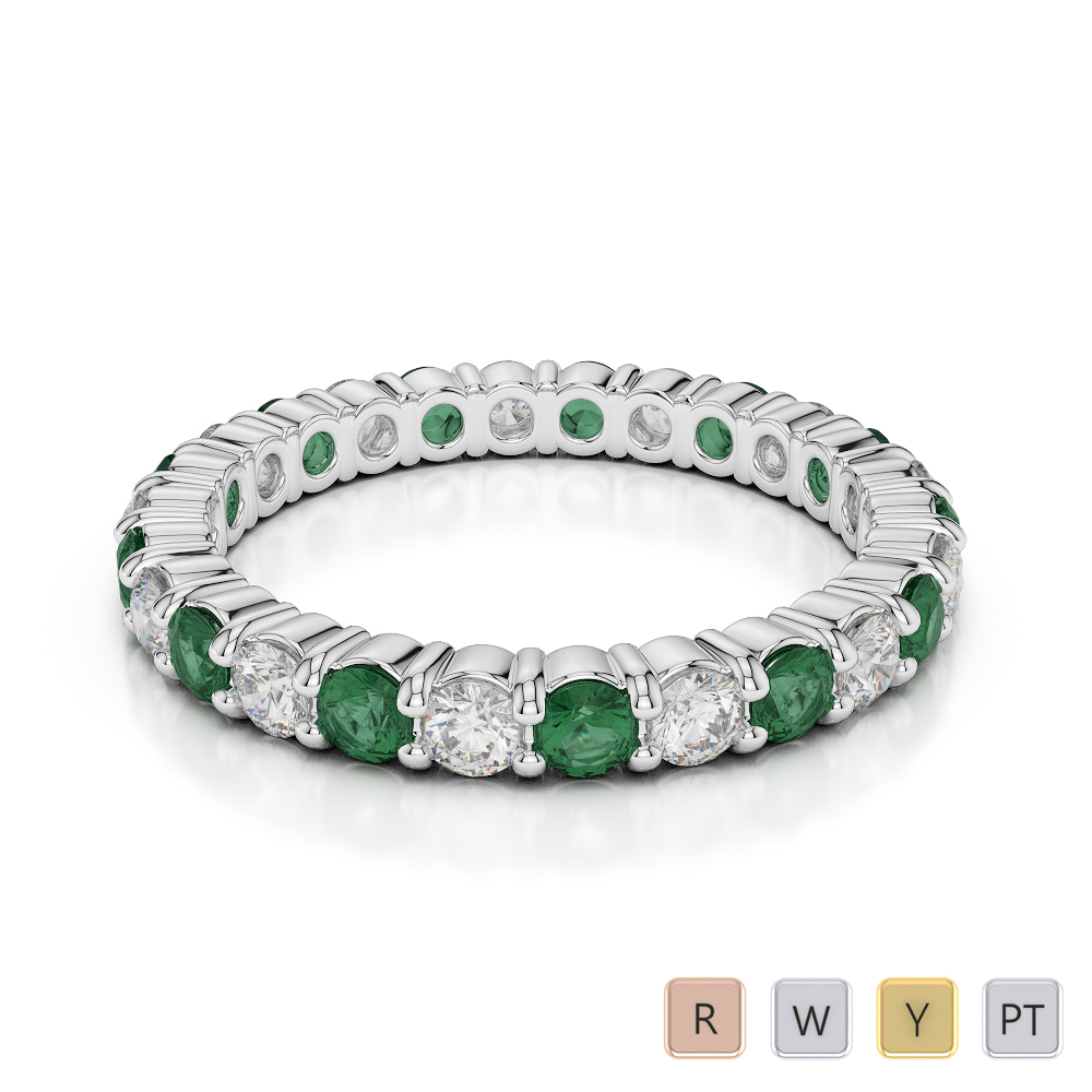2.5 MM Gold / Platinum Round Cut Emerald and Diamond Full Eternity Ring AGDR-1111