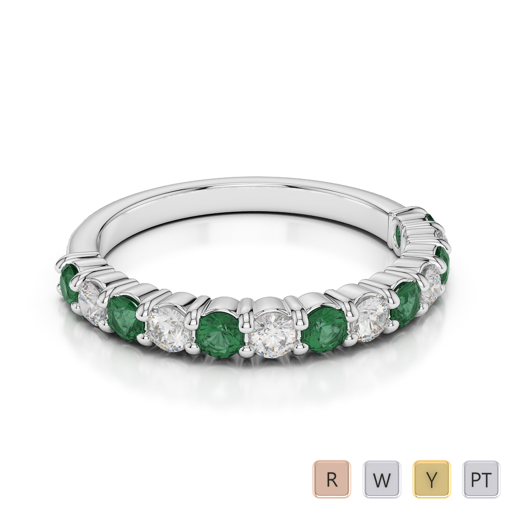 2.5 MM Gold / Platinum Round Cut Emerald and Diamond Half Eternity Ring AGDR-1114