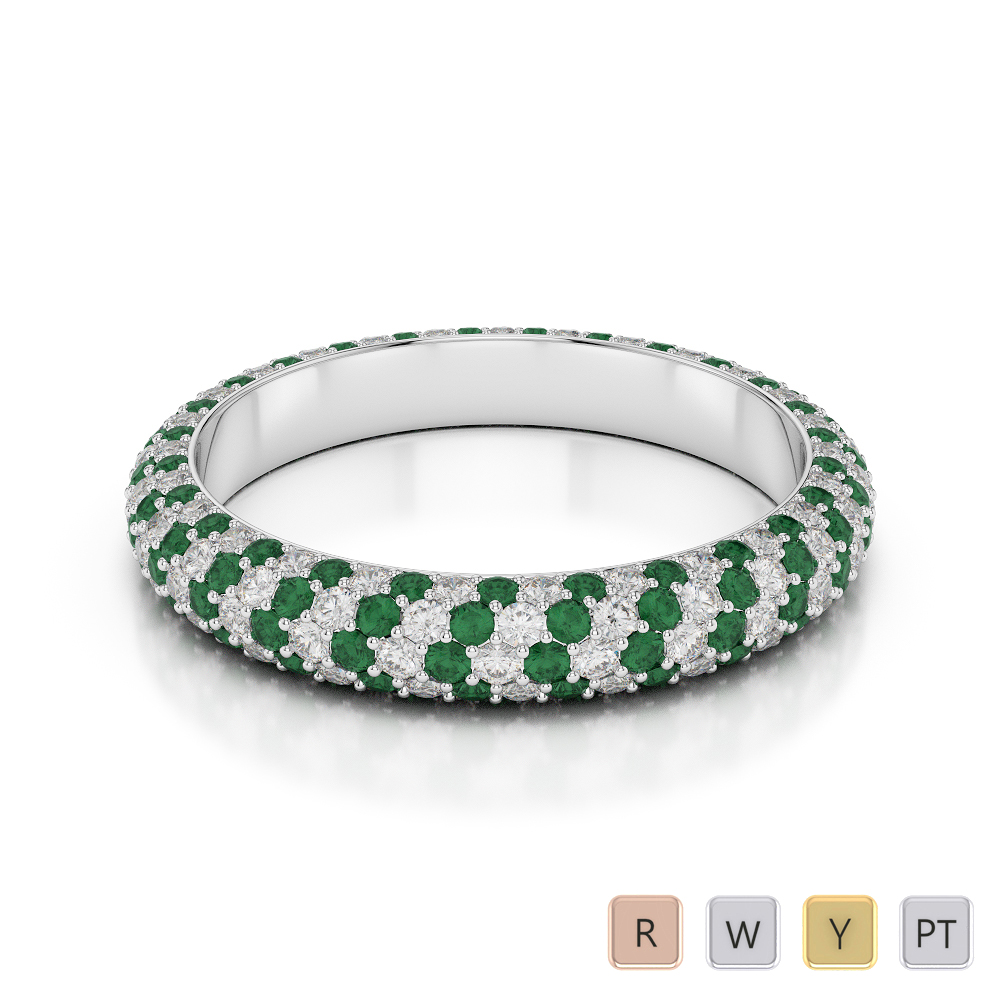 4 MM Gold / Platinum Round Cut Emerald and Diamond Full Eternity Ring AGDR-1116