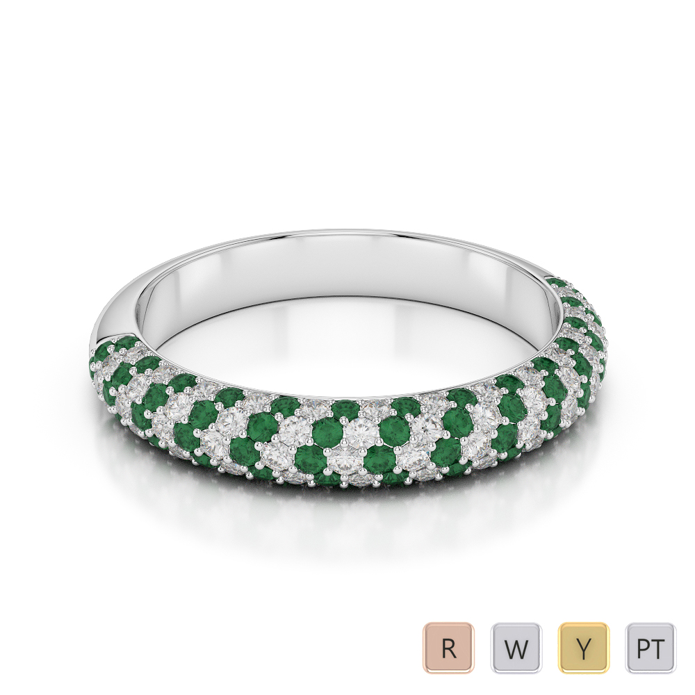 Gold / Platinum Round Cut Emerald and Diamond Half Eternity Ring AGDR-1118
