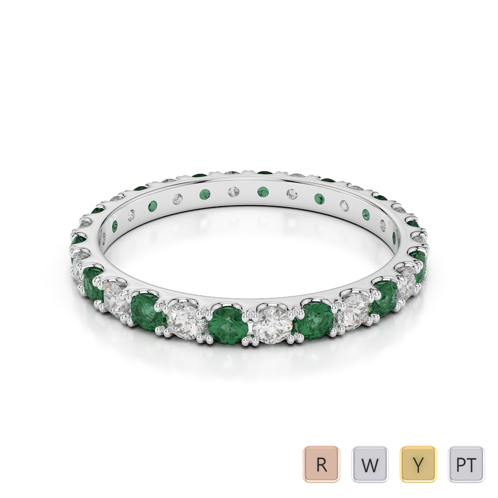 2 MM Gold / Platinum Round Cut Emerald and Diamond Full Eternity Ring AGDR-1120