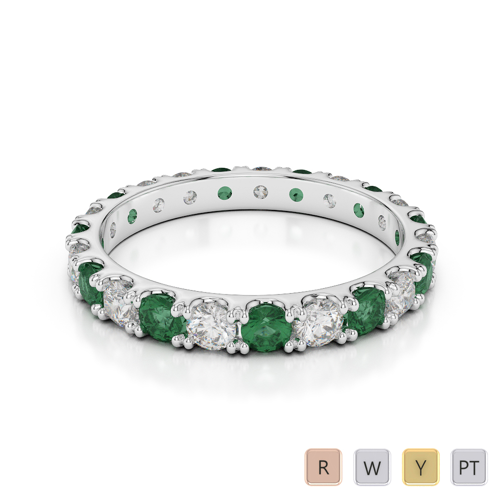2.5 MM Gold / Platinum Round Cut Emerald and Diamond Full Eternity Ring AGDR-1121
