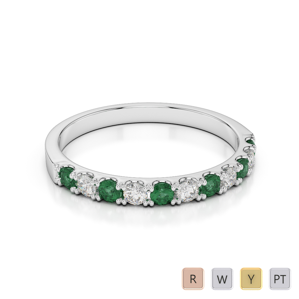 2 MM Gold / Platinum Round Cut Emerald and Diamond Half Eternity Ring AGDR-1123
