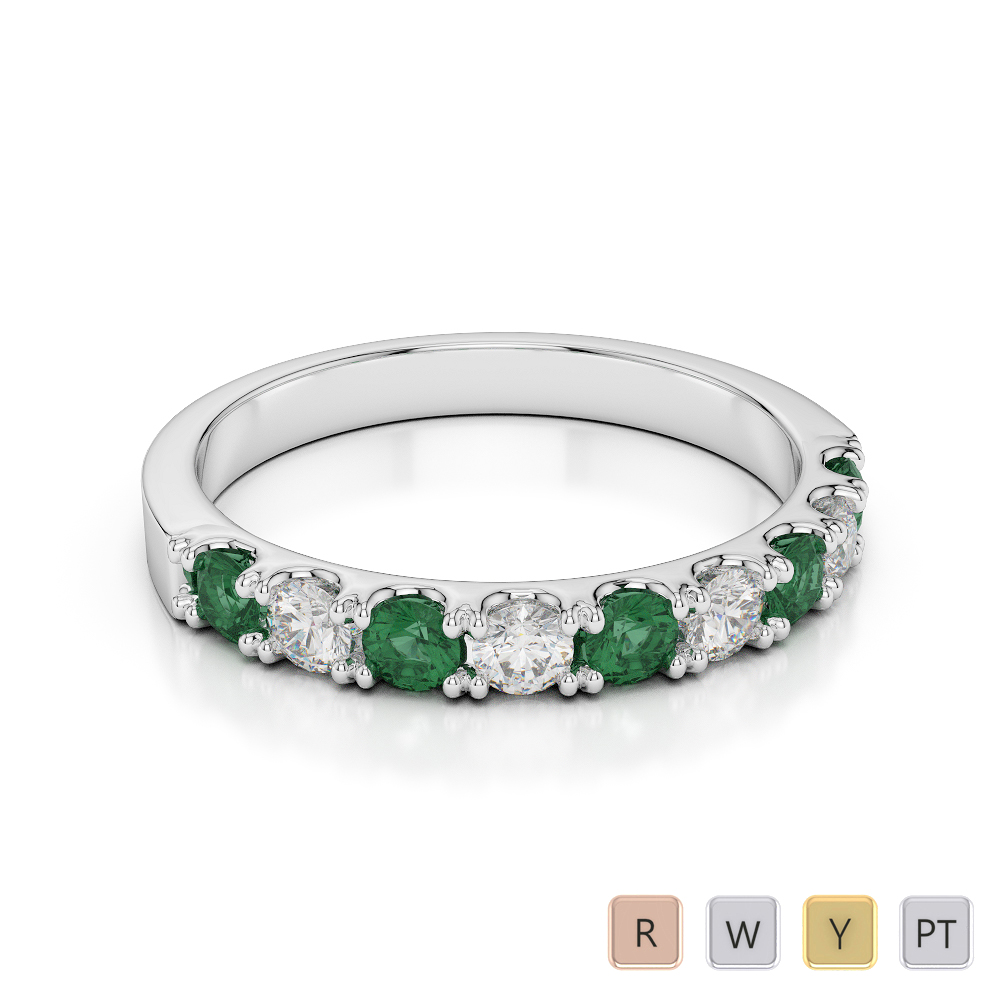 2.5 MM Gold / Platinum Round Cut Emerald and Diamond Half Eternity Ring AGDR-1124