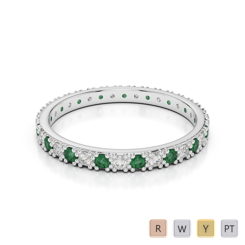 2 MM Gold / Platinum Round Cut Emerald and Diamond Full Eternity Ring AGDR-1126
