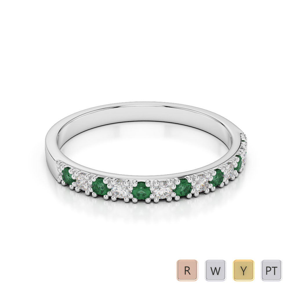 2.5 MM Gold / Platinum Round Cut Emerald and Diamond Half Eternity Ring AGDR-1129
