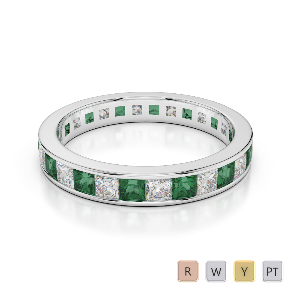 3 MM Gold / Platinum Princess Cut Emerald and Diamond Full Eternity Ring AGDR-1133