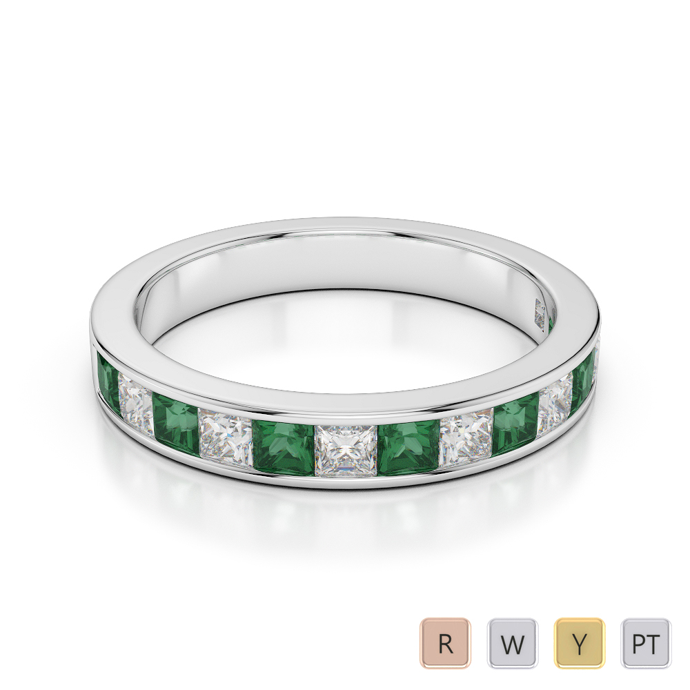 3 MM Gold / Platinum Princess Cut Emerald and Diamond Half Eternity Ring AGDR-1136