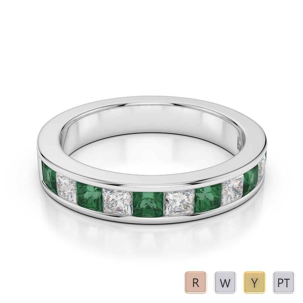 4 MM Gold / Platinum Princess Cut Emerald and Diamond Half Eternity Ring AGDR-1137