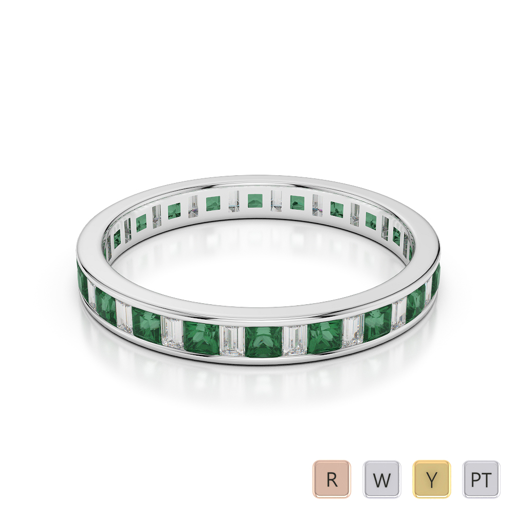 3 MM Gold / Platinum Princess and Baguette Cut Emerald and Diamond Full Eternity Ring AGDR-1140