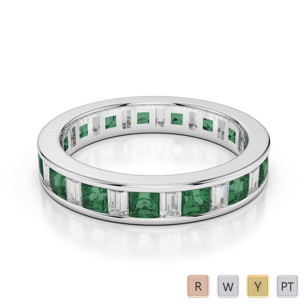 4 MM Gold / Platinum Princess and Baguette Cut Emerald and Diamond Full Eternity Ring AGDR-1141