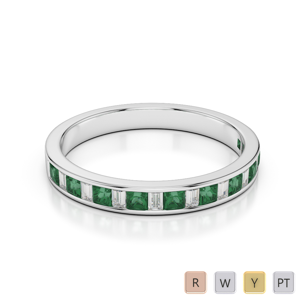 3 MM Gold / Platinum Princess and Baguette Cut Emerald and Diamond Half Eternity Ring AGDR-1142