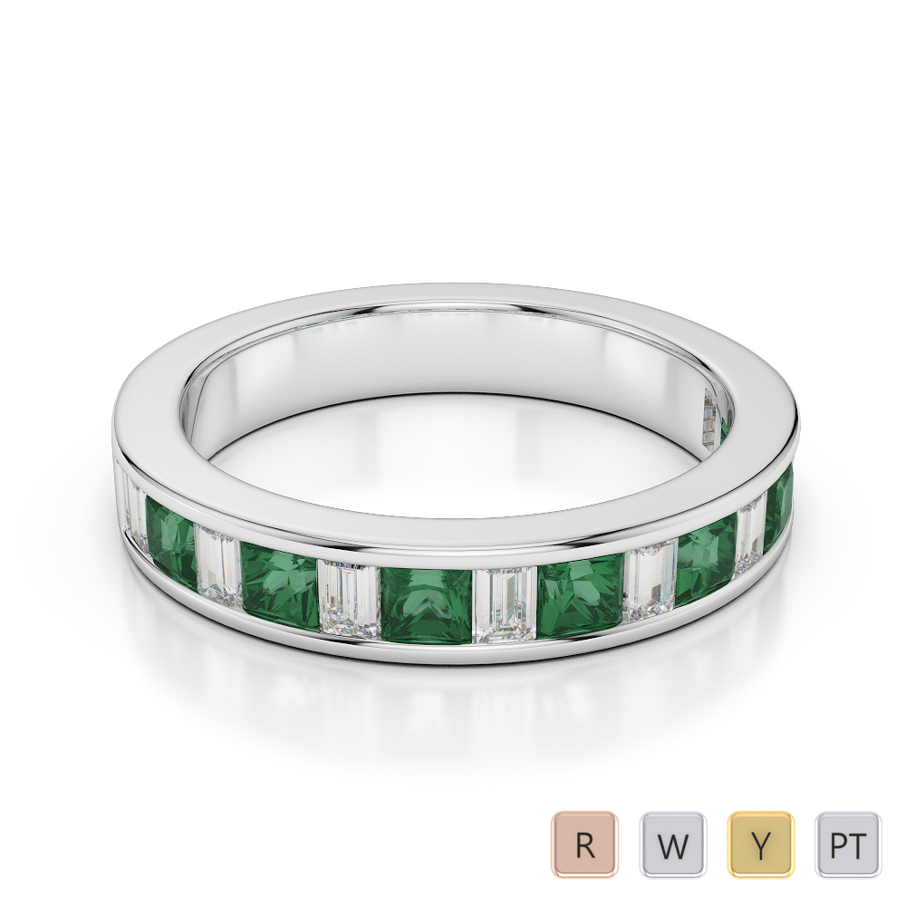4 MM Gold / Platinum Princess and Baguette Cut Emerald and Diamond Half Eternity Ring AGDR-1143