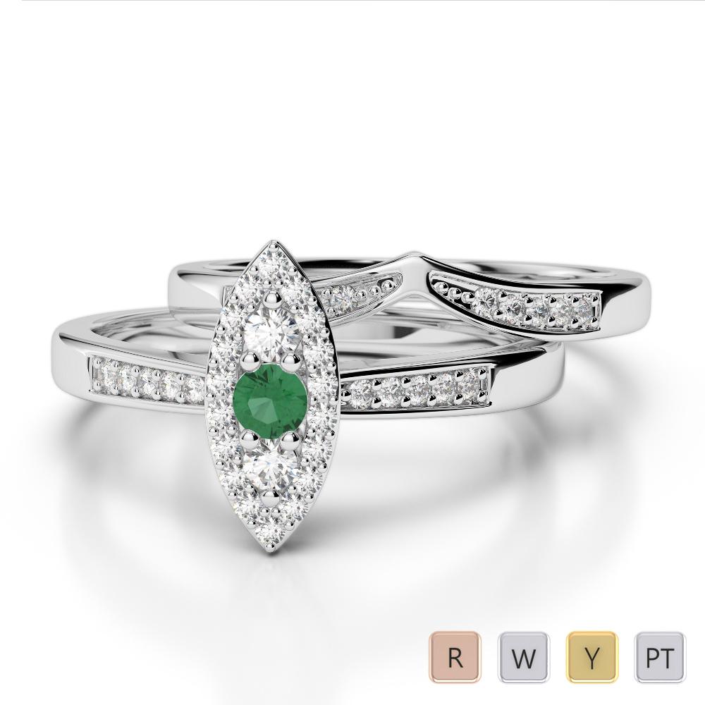 Gold / Platinum Round cut Emerald and Diamond Bridal Set Ring AGDR-1050
