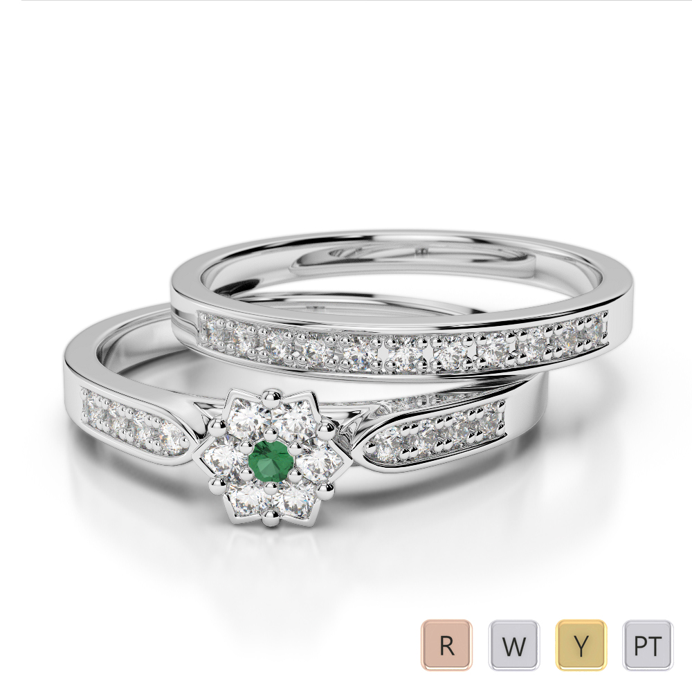 Gold / Platinum Round cut Emerald and Diamond Bridal Set Ring AGDR-1051