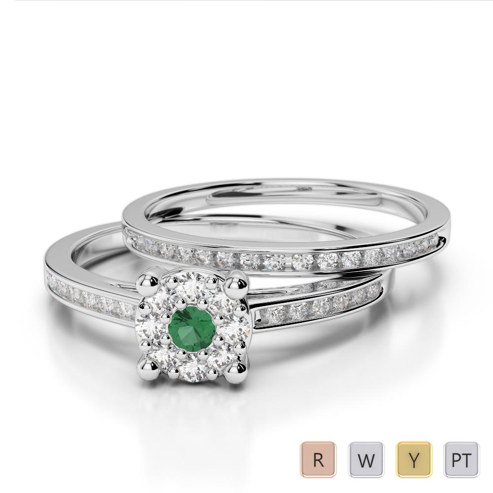 Gold / Platinum Round cut Emerald and Diamond Bridal Set Ring AGDR-1052