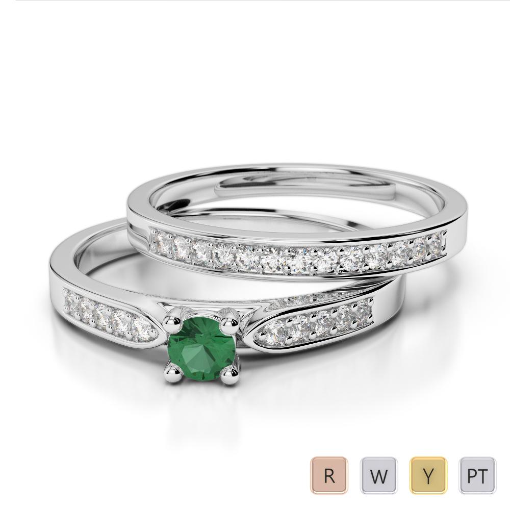 Gold / Platinum Round cut Emerald and Diamond Bridal Set Ring AGDR-1054