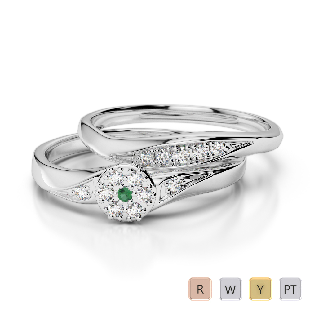 Gold / Platinum Round cut Emerald and Diamond Bridal Set Ring AGDR-1057
