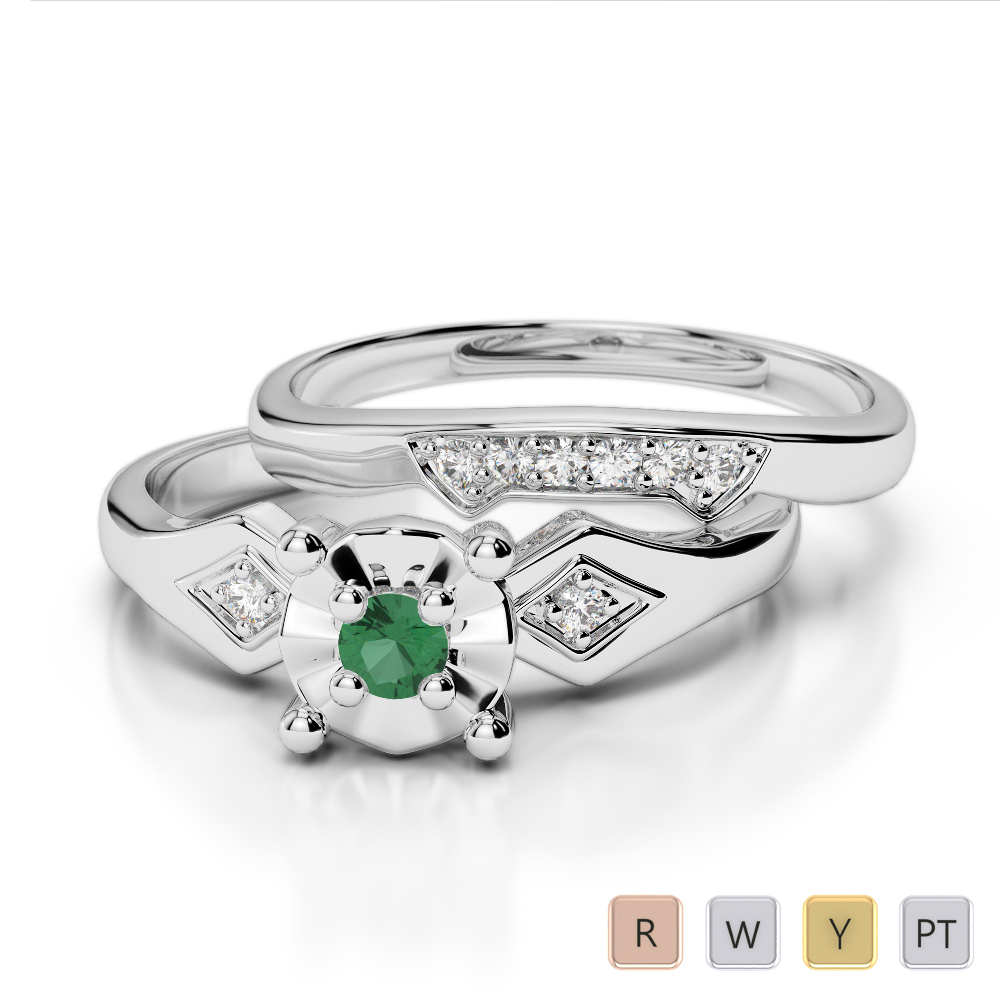 Gold / Platinum Round cut Emerald and Diamond Bridal Set Ring AGDR-1058