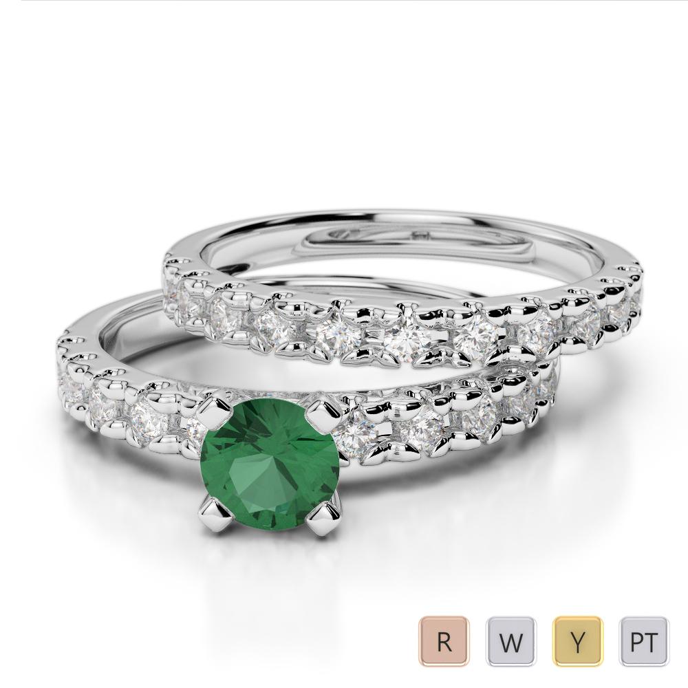 Gold / Platinum Round cut Emerald and Diamond Bridal Set Ring AGDR-1144