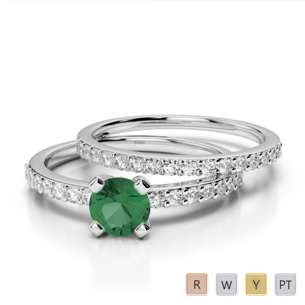 Gold / Platinum Round cut Emerald and Diamond Bridal Set Ring AGDR-1146