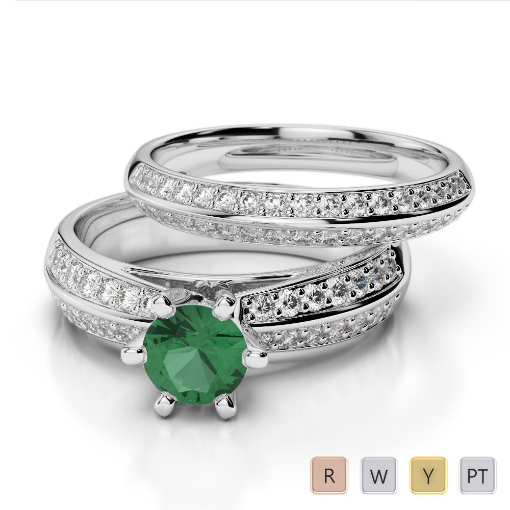 Gold / Platinum Round cut Emerald and Diamond Bridal Set Ring AGDR-1147
