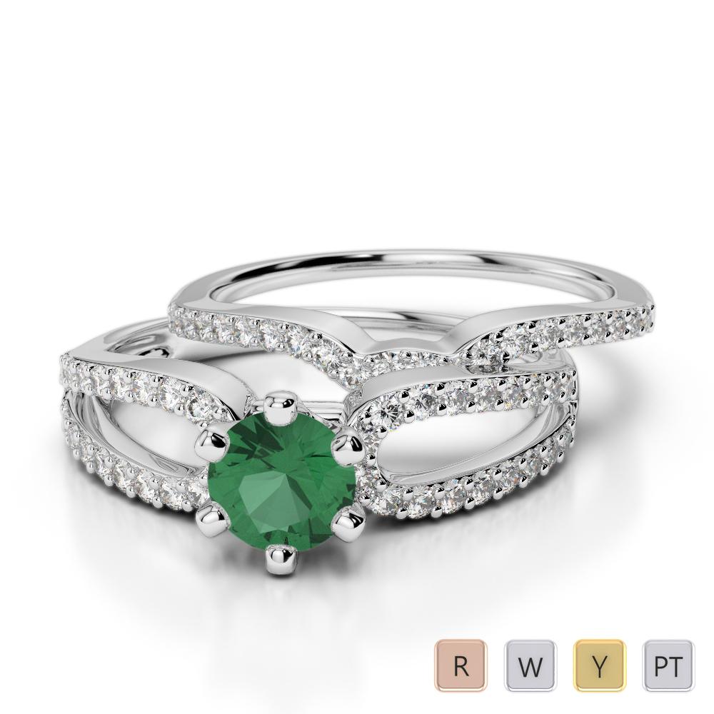 Gold / Platinum Round cut Emerald and Diamond Bridal Set Ring AGDR-1148