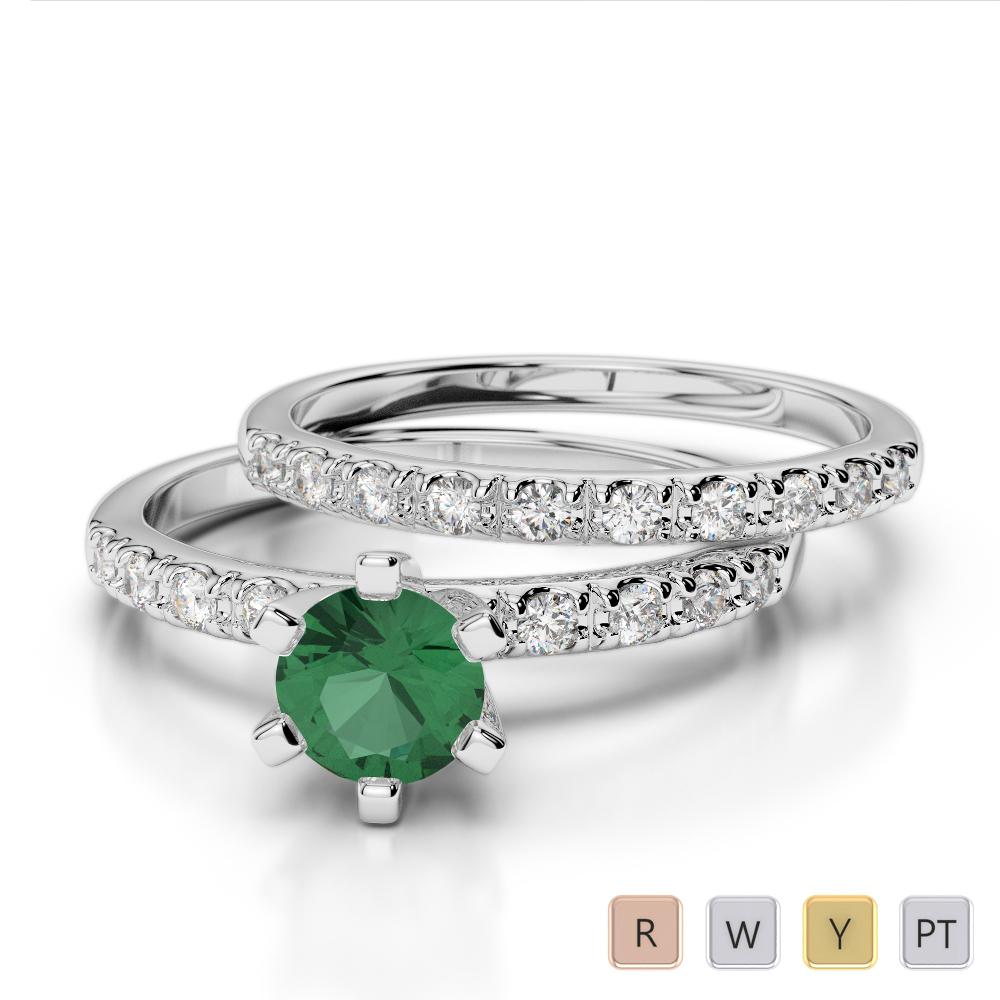 Gold / Platinum Round cut Emerald and Diamond Bridal Set Ring AGDR-1149