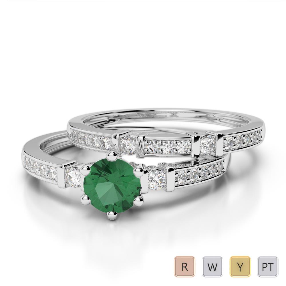 Gold / Platinum Round cut Emerald and Diamond Bridal Set Ring AGDR-1150