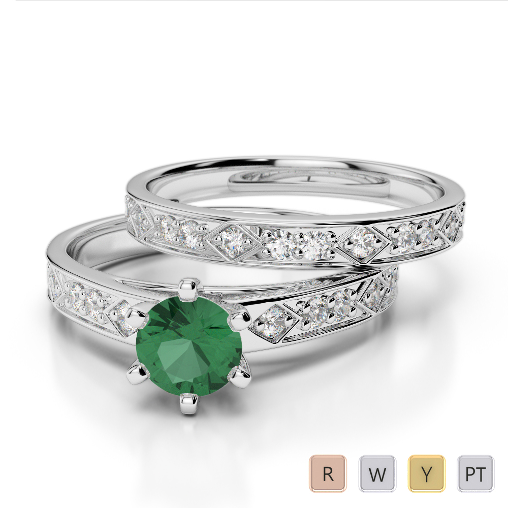 Gold / Platinum Round cut Emerald and Diamond Bridal Set Ring AGDR-1151