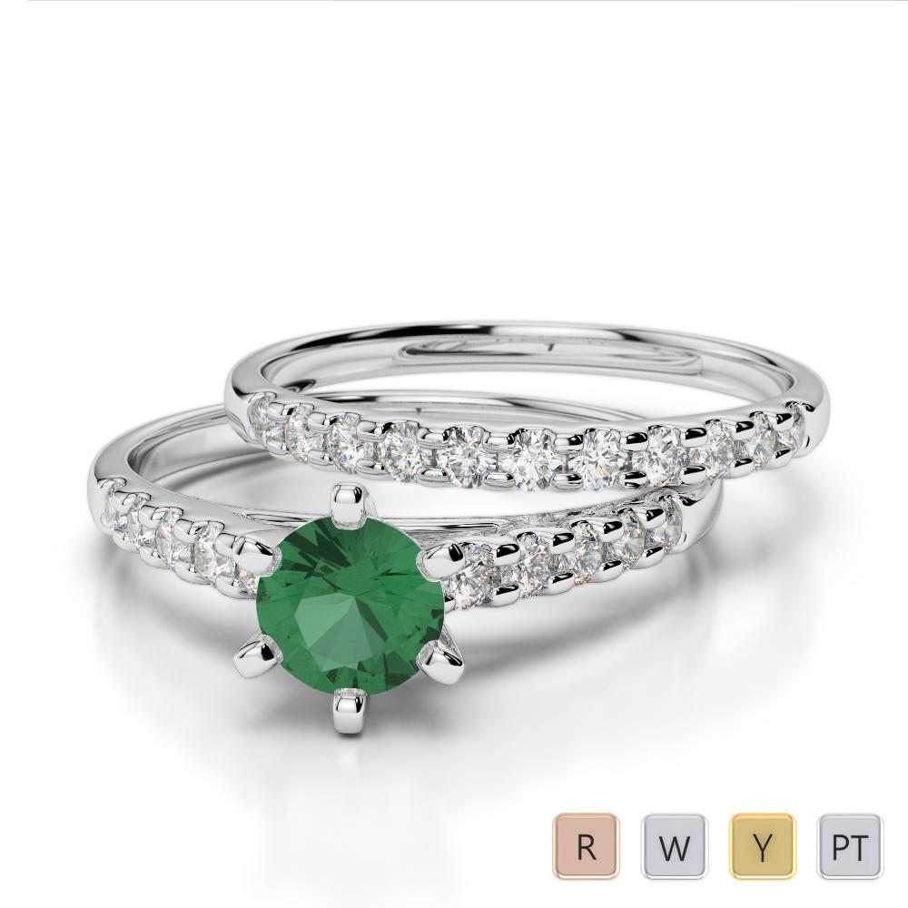 Gold / Platinum Round cut Emerald and Diamond Bridal Set Ring AGDR-1153