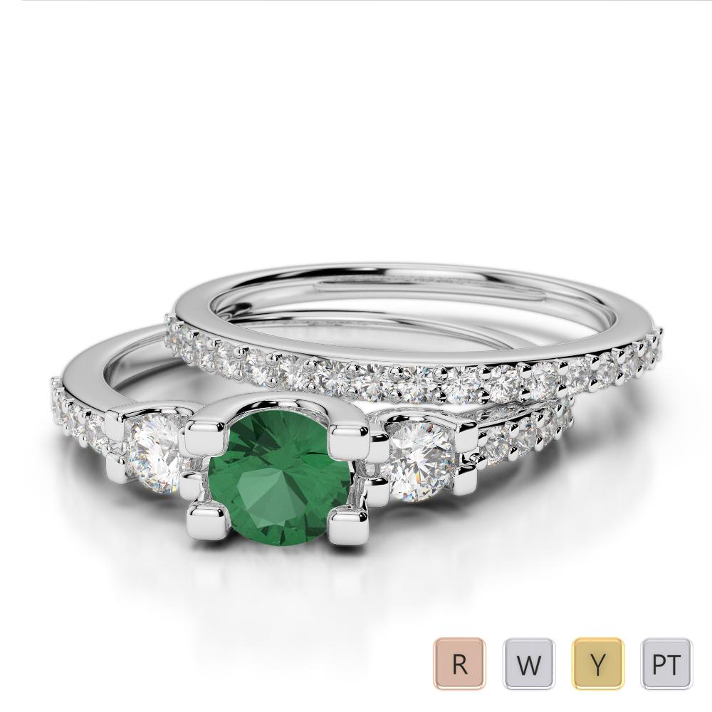 Gold / Platinum Round cut Emerald and Diamond Bridal Set Ring AGDR-1155