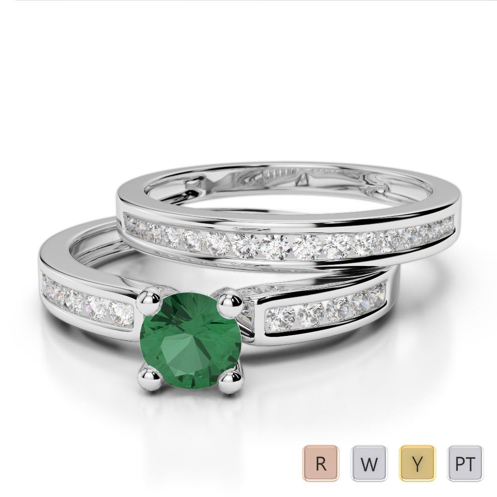 Gold / Platinum Round cut Emerald and Diamond Bridal Set Ring AGDR-1157