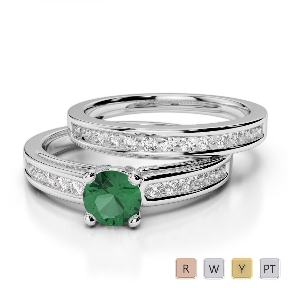 Gold / Platinum Round cut Emerald and Diamond Bridal Set Ring AGDR-1159