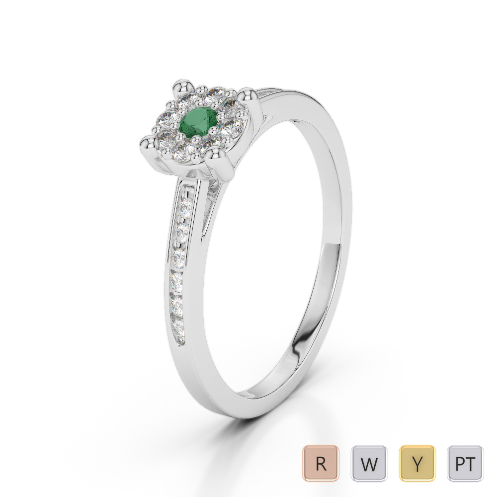 Gold / Platinum Round Cut Emerald and Diamond Engagement Ring AGDR-1163