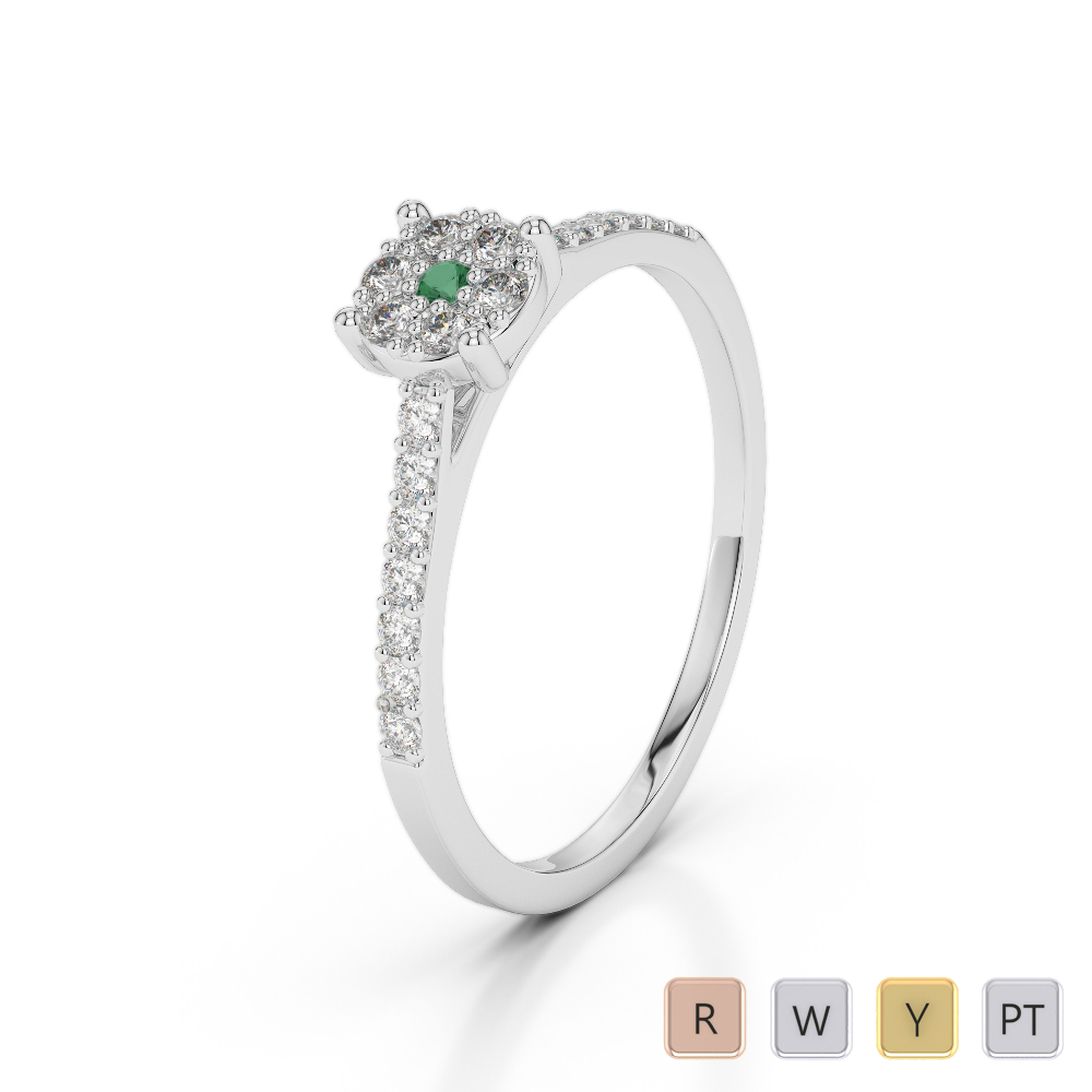 Gold / Platinum Round Cut Emerald and Diamond Engagement Ring AGDR-1164