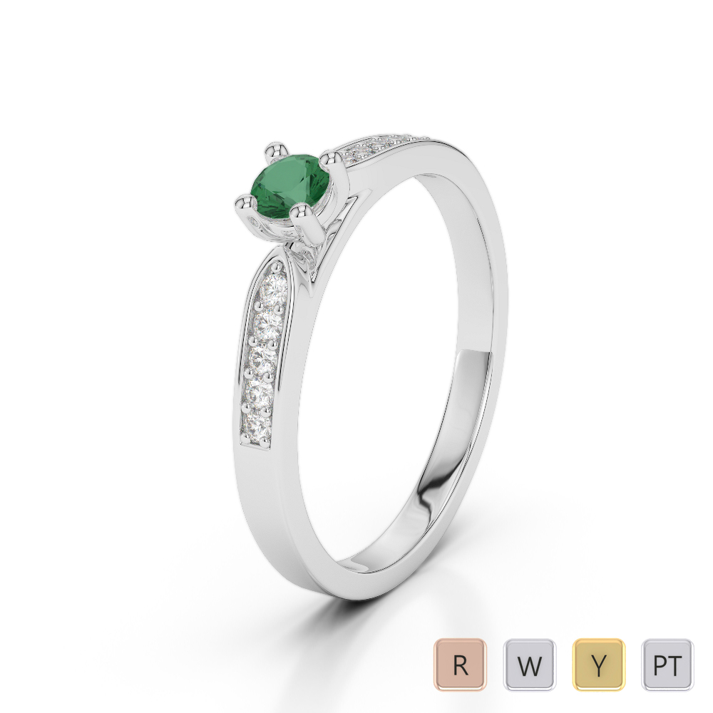 Gold / Platinum Round Cut Emerald and Diamond Engagement Ring AGDR-1165