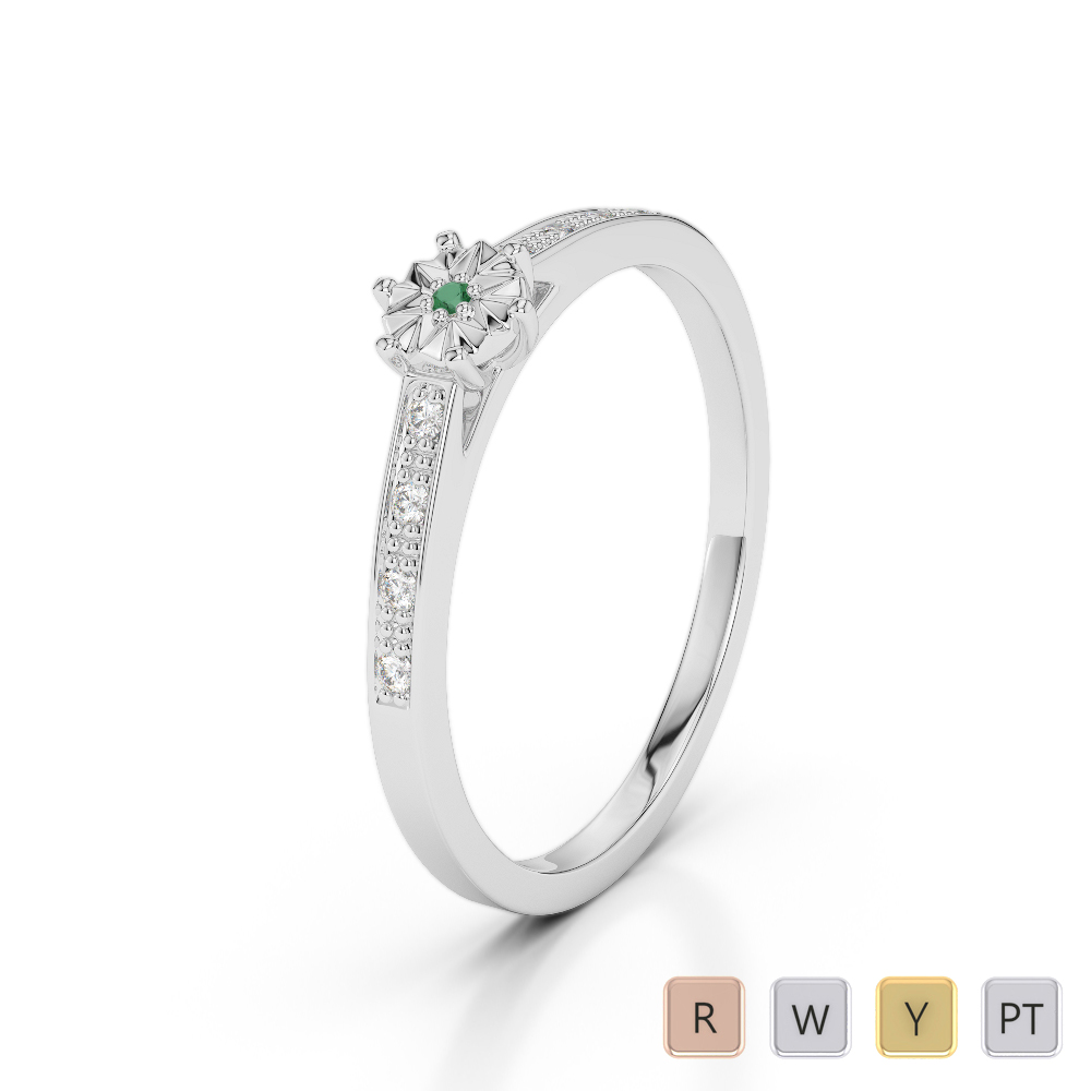Gold / Platinum Round Cut Emerald and Diamond Engagement Ring AGDR-1167