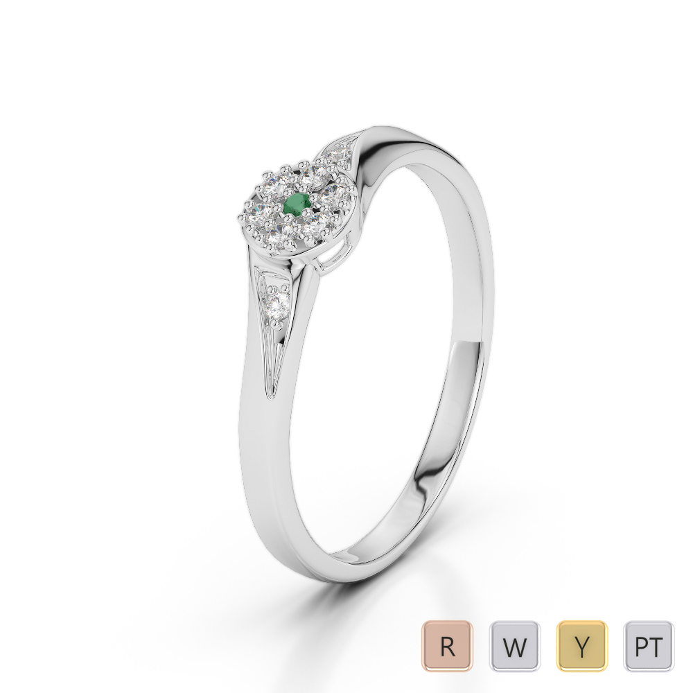 Gold / Platinum Round Cut Emerald and Diamond Engagement Ring AGDR-1168