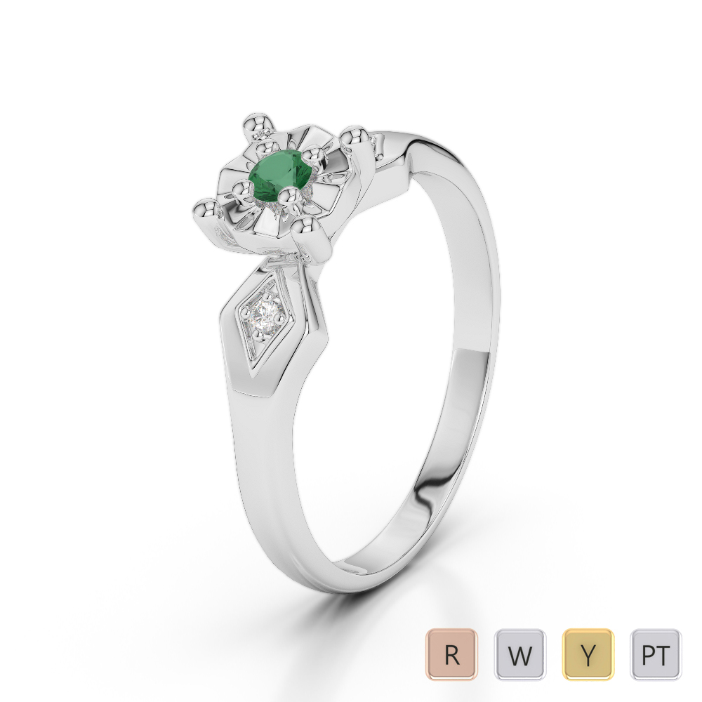 Gold / Platinum Round Cut Emerald and Diamond Engagement Ring AGDR-1169