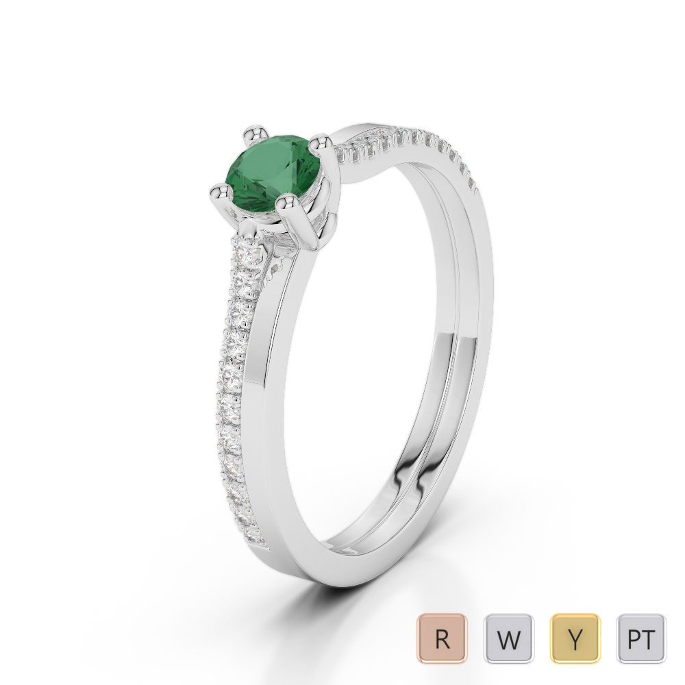 Gold / Platinum Round Cut Emerald and Diamond Engagement Ring AGDR-1170