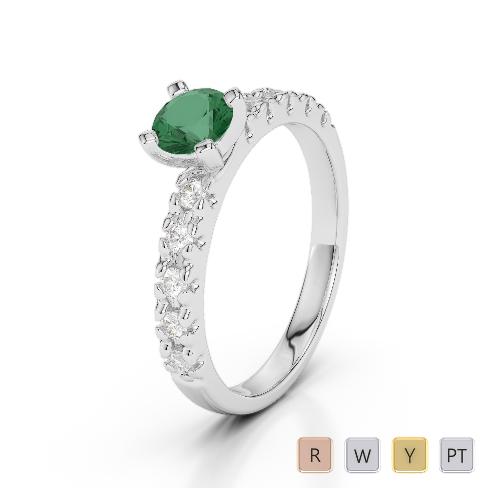 Gold / Platinum Round Cut Emerald and Diamond Engagement Ring AGDR-1171