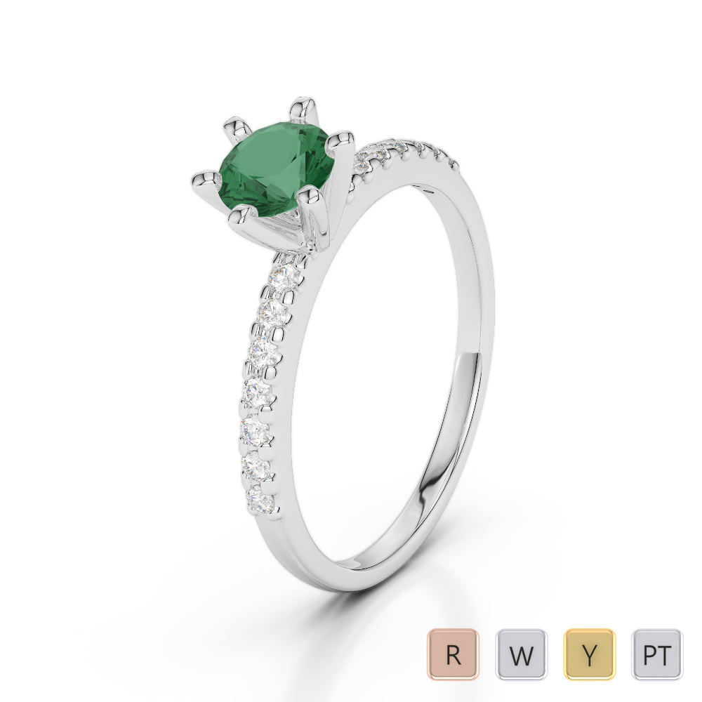 Gold / Platinum Round Cut Emerald and Diamond Engagement Ring AGDR-1172