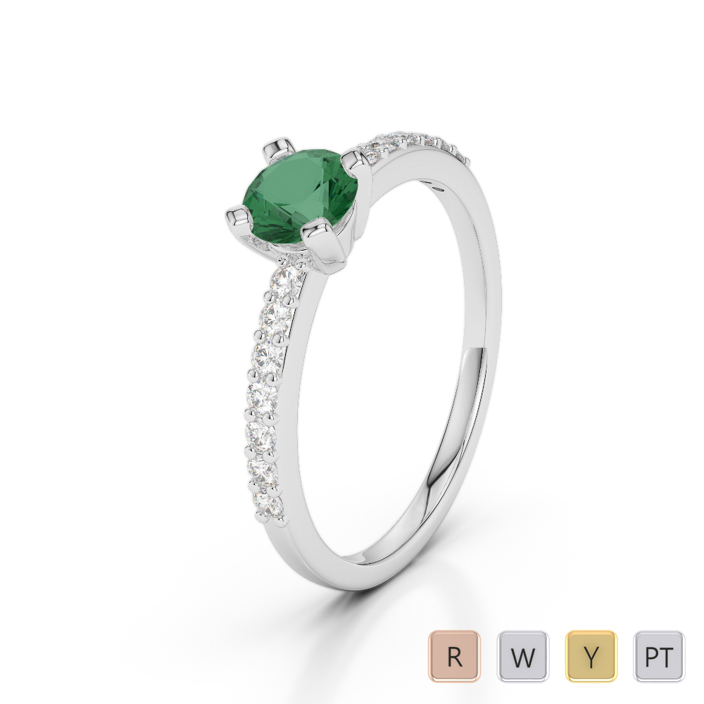 Gold / Platinum Round Cut Emerald and Diamond Engagement Ring AGDR-1173