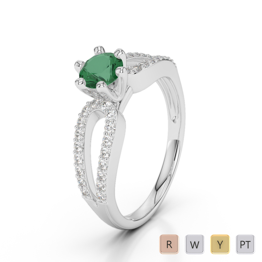 Gold / Platinum Round Cut Emerald and Diamond Engagement Ring AGDR-1175