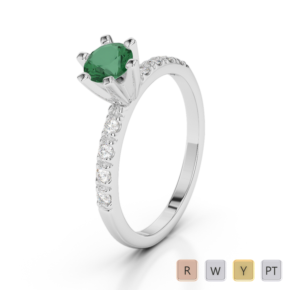 Gold / Platinum Round Cut Emerald and Diamond Engagement Ring AGDR-1176