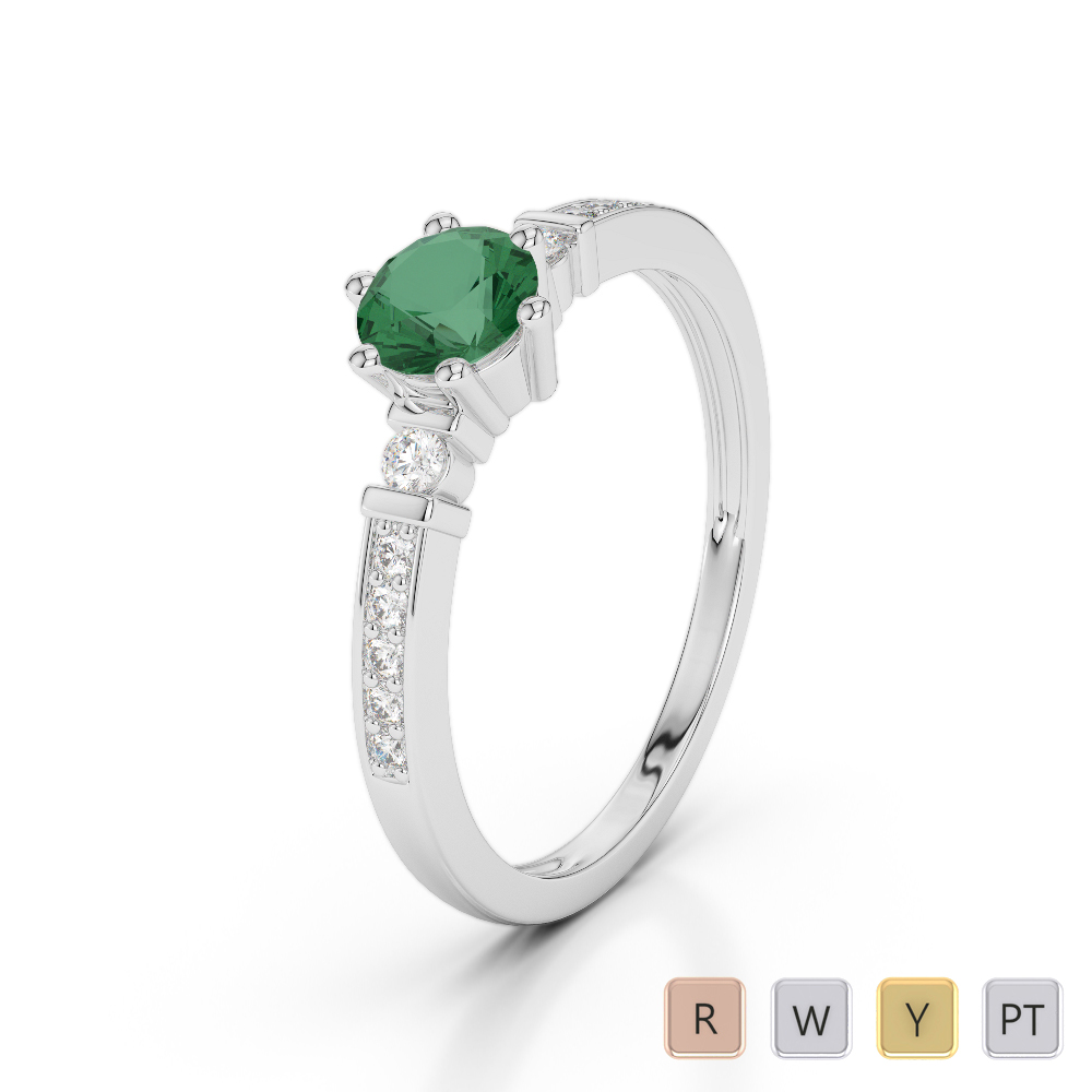 Gold / Platinum Round Cut Emerald and Diamond Engagement Ring AGDR-1177