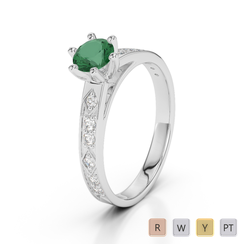 Gold / Platinum Round Cut Emerald and Diamond Engagement Ring AGDR-1178