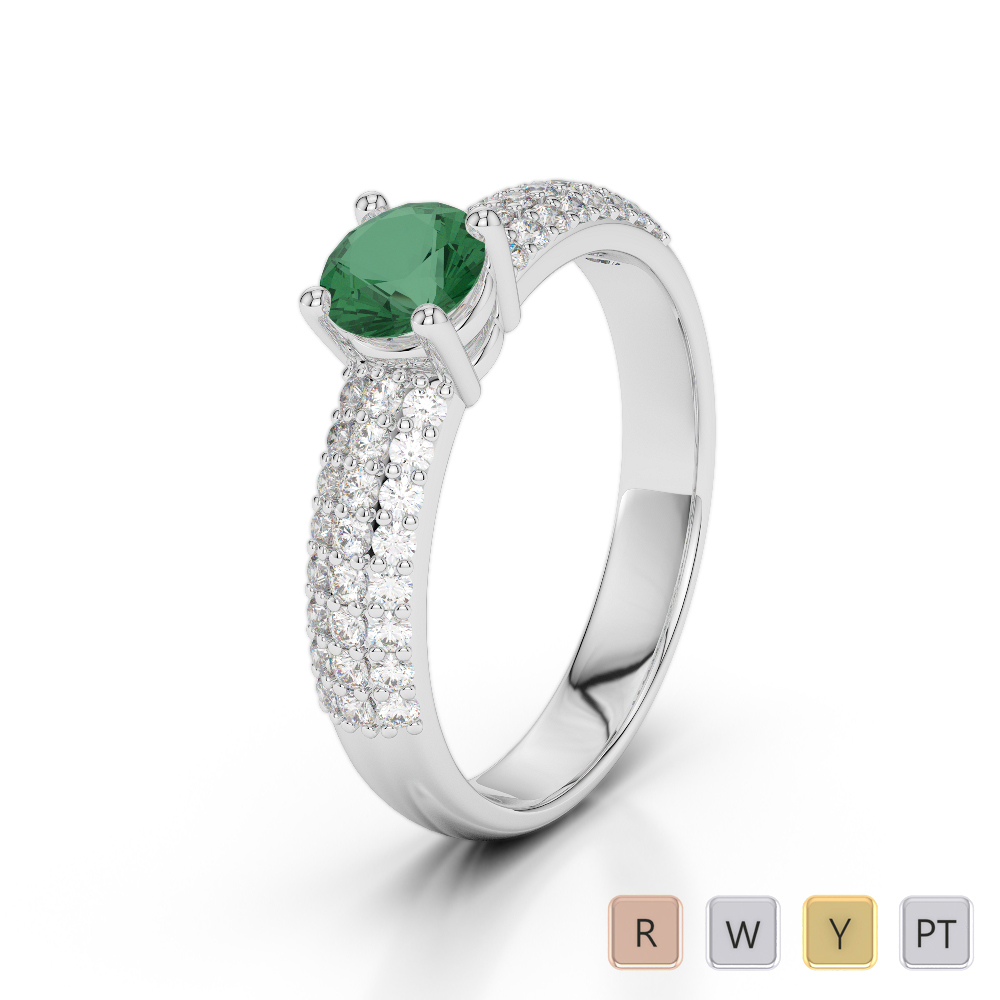 Gold / Platinum Round Cut Emerald and Diamond Engagement Ring AGDR-1179